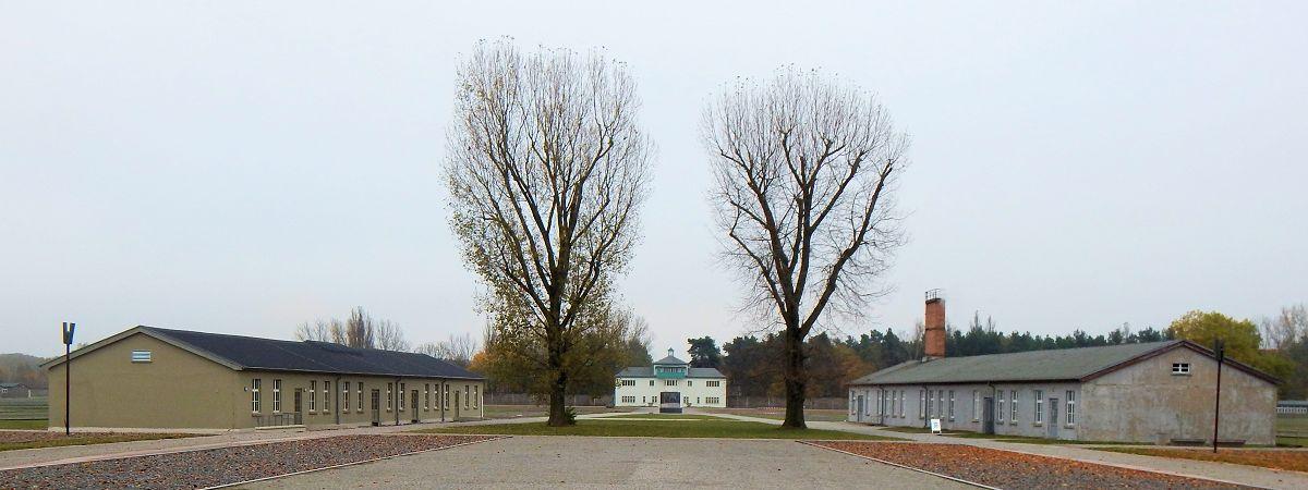 Gatehouse and barracks at Sachsenhausen Camp.